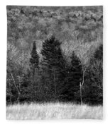 Autumn Field Bw Fleece Blanket