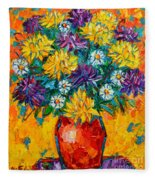 Autumn Flowers Gorgeous Mums - Original Oil Painting Fleece Blanket