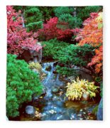 Autumn Garden Waterfall I Fleece Blanket