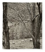 Autumn Grazing 2 Sepia Fleece Blanket