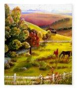 Autumn In The Valley Fleece Blanket