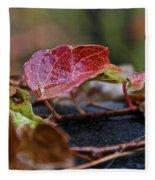 Autumn Ivy In Red Fleece Blanket