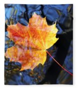 Autumn Leaf On The Water Level Fleece Blanket