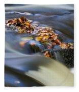 Autumn Leaves In Water Fleece Blanket