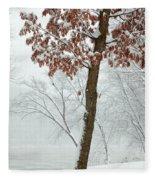 Autumn Leaves In Winter Snow Storm Fleece Blanket