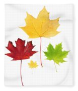 Autumn Leaves Isolated Fleece Blanket
