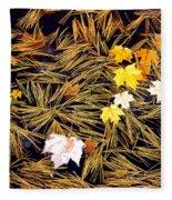 Autumn Leaves On Straw On Water Fleece Blanket