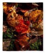 Autumn Leaves On The Moss Fleece Blanket