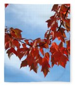 Autumn Leaves Tree Red Orange Art Prints Blue Sky White Clouds Fleece Blanket
