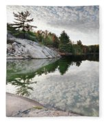 Autumn Nature Lake Rocks And Trees Fleece Blanket