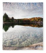 Autumn Nature Lake Rocks And Trees Panorama Fleece Blanket