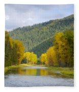 Autumn On The River Fleece Blanket