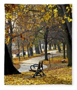 Autumn Park In Toronto Fleece Blanket