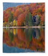 Autumn Reflections On Lake Bohinj In Slovenia Fleece Blanket