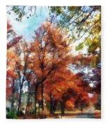 Autumn Street Perspective Fleece Blanket