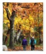 Autumn Stroll Fleece Blanket
