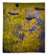 Autumn Tree Reflections With Rocks On The Muskegon River Fleece Blanket