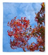 Autumn Trees Art Prints Blue Sky White Clouds Fleece Blanket