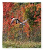 Autumn Vermont Geese And Color Fleece Blanket