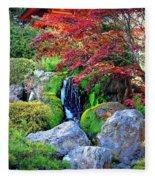 Autumn Waterfall - Digital Art Fleece Blanket