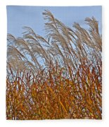Autumn Wind Through The Grass Fleece Blanket