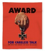 Award For Careless Talk - Ww2 Fleece Blanket
