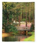 Azaleas And Footbridge Fleece Blanket