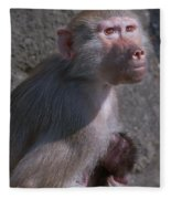 Baboon Carrying Her Baby Fleece Blanket