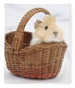 Baby Guinea Pig In A Wicker Basket Fleece Blanket