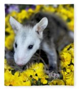 Baby Opossum In Flowers Fleece Blanket