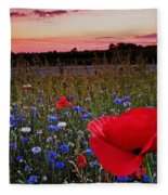 Bachelor Buttons And Poppies Fleece Blanket