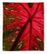 Backlit Red Leaf Fleece Blanket