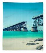 Bahia Hondas Railroad Bridge  Fleece Blanket