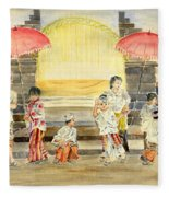 Balinese Children In Traditional Clothing Fleece Blanket