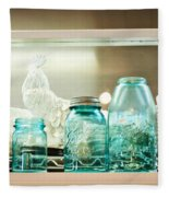 Ball Jars And White Rooster Fleece Blanket
