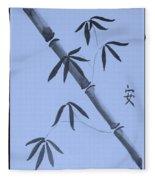 Bamboo Art In Cyan Fleece Blanket