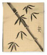 Bamboo Art In Sepia Fleece Blanket
