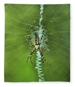 Banana Spider With Web Fleece Blanket