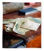 Bank Checks Dated 1923 Fleece Blanket