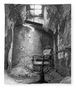 Barber - Chair - Eastern State Penitentiary - Black And White Fleece Blanket