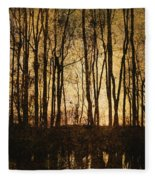 Fall Trees On A Lake Fleece Blanket