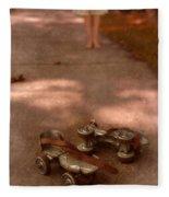 Barefoot Girl On Sidewalk With Roller Skates Fleece Blanket