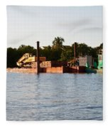 Barge In Naples Bay Fleece Blanket