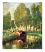 Barge On A River Normandy Fleece Blanket