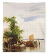 Barges On A River Fleece Blanket