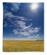 Barley Field Near Airdrie, Alberta Fleece Blanket