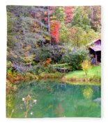 Barn And Pond In The Fall Fleece Blanket