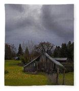 Barn And Sky Fleece Blanket