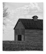 Barn And Tree In Black And White Fleece Blanket