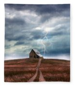 Barn In Lightning Storm Fleece Blanket